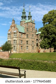 The scenic summer view of Rosenborg in Copenhagen, Denmark. The palace is open to the public.