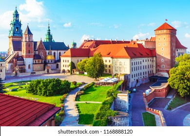 Scenic summer view of the Wawel Castle fortress and Cathedral Church in the Old Town of Krakow, Poland