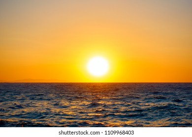 Scenic sundown over Mediterranean sea - Sunset seascape