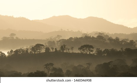 Scenic sunrise in Majete National Park, Malawi.