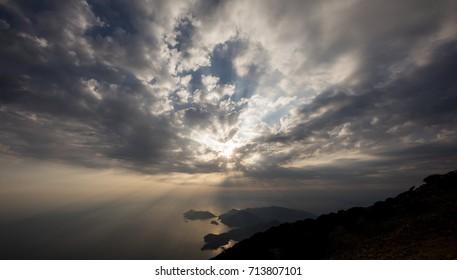 Scenic sunrise sky background