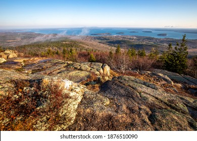 Scenic sunrise at the top of Cadillac mountain North Ridge trail Acadia National park