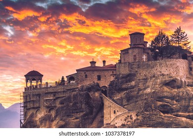Scenic sunset evening sky over holy Varlaam monastery on cliff in Meteora, Thessaly Greece. Greek destinations