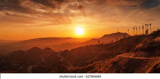 Scenic sunset in Hollywood Hills, Los Angeles, California.