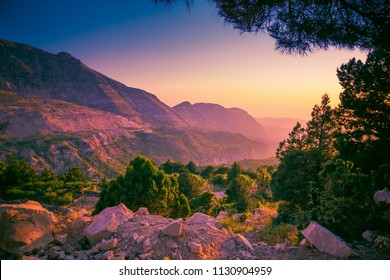Scenic sunset landscape in Lebanon mountains, Lebanon