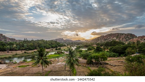 A scenic sunset landscape in south India