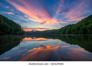 Scenic sunset, mountain lake, Appalachian Mountains of Kentucky