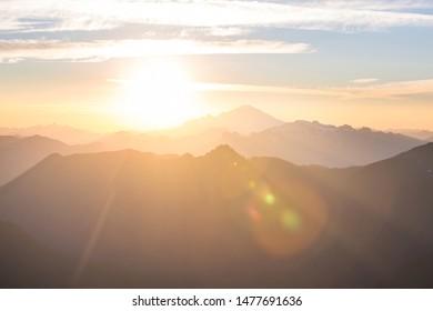 Scenic Sunset in the mountains. Autumn season.