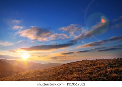 Scenic Sunset in the mountains in fall season