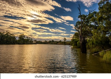 Scenic sunset over Murray river in Mildura, Australia