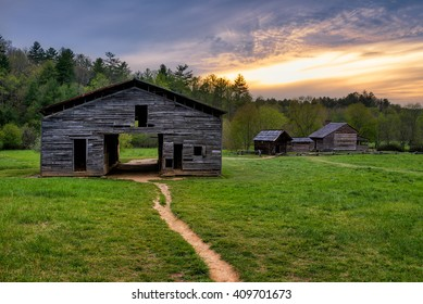 Scenic sunset over old homestead in the Great Smoky Mountains