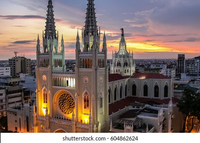 Scenic sunset sky with illuminated Guayaquil Metropolitan Cathedral, Ecuador
