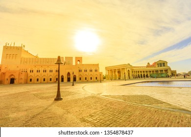 Scenic sunset sky landscape of Katara cultural village or valley of cultures in Doha, West Bay District, Qatar. Middle East, Arabian Peninsula. Famous tourist attraction in Doha city.