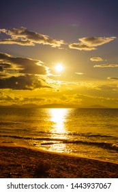 Scenic sunset or sunrise over sea surface. Natural scenery, beautiful landscape