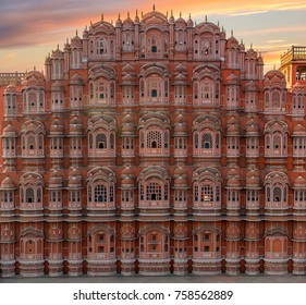 Scenic sunset view to Hawa Mahal in Jaipur, India