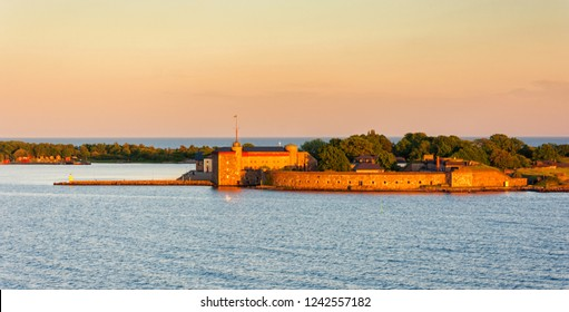 Scenic sunset view on the island with Kungsholms Fort (coastal artillery fortress for control of Karlskrona harbour). Location place: the Baltic Sea near Karlskrona, Sweden.