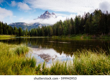 Scenic surroundings of the Antorno lake in National Park Tre Cime di Lavaredo. Picturesque and gorgeous scene. Location place Auronzo, Misurina, Dolomiti alps, South Tyrol Italy, Europe. Beauty world.