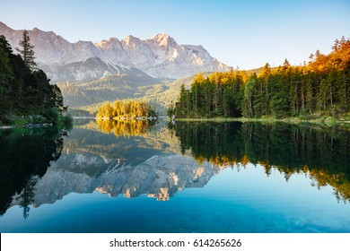 Scenic surroundings near famous lake Eibsee. Wonderful day gorgeous scene. Location resort Garmisch-Partenkirchen, Bavarian alp, sightseeing Europe. Outdoor activity. Explore the world's beauty.