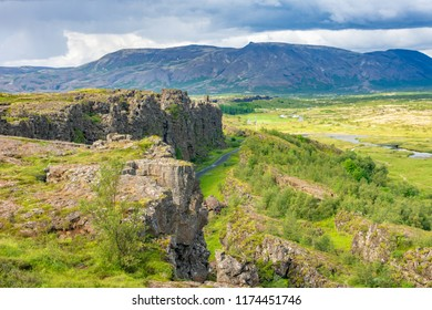 Scenic Thingvellir National Park in Iceland's Golden Circle, a historic world heritage site where one of the world's first parliaments took place