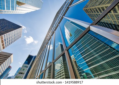 Scenic Toronto financial district skyline and modern architecture