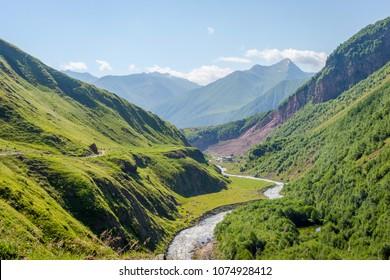 Scenic Truso valley in Kazbegi, Georgia