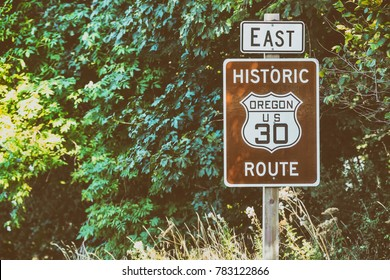 Scenic US 30 road sign in Oregon Columbia River Gorge Road.