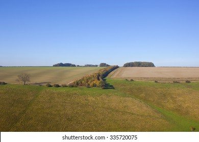 a scenic valley in horsedale in the yorkshire wolds england with grazing meadows arable fields and a colorful strip of trees under a blue sky in autumn