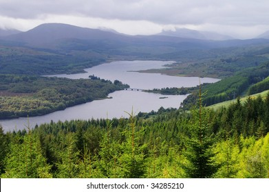 scenic valley in the scottish higlands at autumn