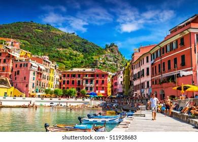 Scenic Vernazza village, beautiful place in Cinque Terre, Italy.