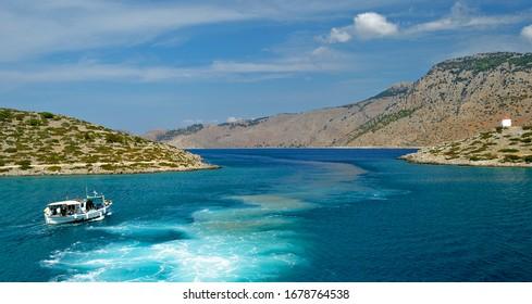 Scenic vew of Panormitis Bay, Symi, Greece