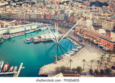 Scenic view from above on the port of Genoa, Italy