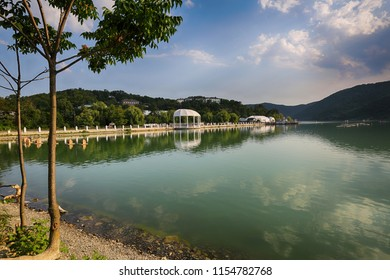 Scenic view of Abrau lake. Russia, Krasnodar Lake Abrau Durso