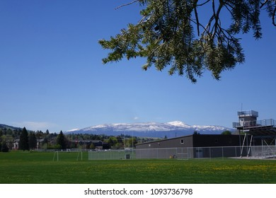 Scenic view across University of Montana soccer field in Missoula, Montana.