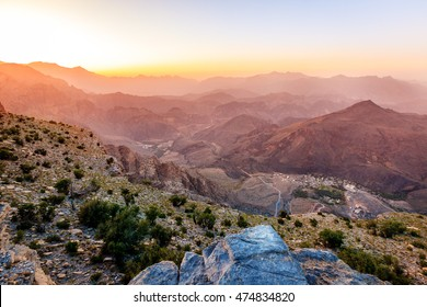 Scenic view of Al Hajar mountains in the Sultanate of Oman at sunset