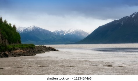 Scenic view of Alaska's rivers and mountain ranges.
