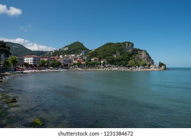 Scenic view of Amasra city located on the Black sea among green mountains