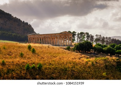 Scenic view of ancient temple in Segesta at sunset, Sicily, Italy