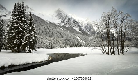 Scenic view of Anterselva lake after a snowfall in winter. Val Pusteria, South Tyrol. Italy.