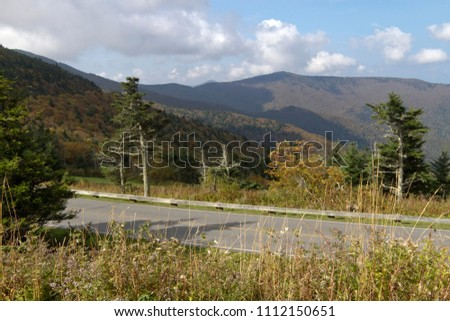Scenic view of the Appalachian Mountains and Pisgah National Forest along the road leading from the Blue Ridge parkway into Mount Mitchell State Park in western North Carolina