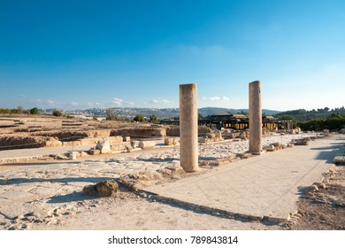 Scenic view of the archaeological exposition dated of ancient ages in Zippori Archaeological National Park, Galilee, Israel.