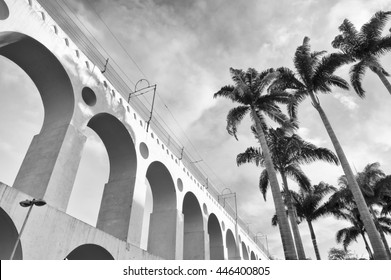 Scenic view of the Arcos da Lapa Arches Rio de Janeiro Brazil in black and white monochrome with palm trees