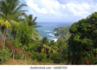 Scenic view to Atlantic Ocean coastline, Dominica, Caribbean islands