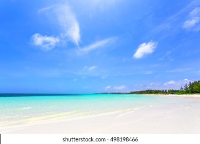 Scenic view of Banana Bay Beach in Freeport, Grand Bahama, Bahamas. Caribbean beaches with white sand coastline and deep blue sea, The Bahamas.
