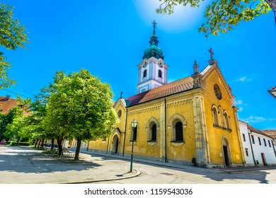 Scenic view of  baroque architecture street in Karlovac town, croatian travel destination. / Selective focus.