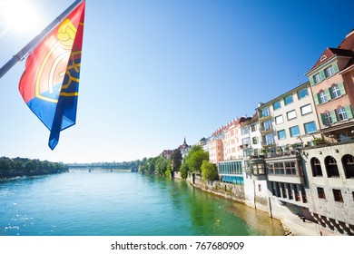 Scenic view of Basel waterfront from Middle Bridge