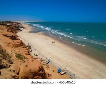 Scenic view of the beach of Canoa Quebrada, Brazil