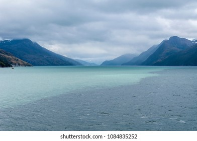 Scenic view of Beagle channel. Place inbetween Chile and Argentina where clear glacial water meets  salted water from the ocean. Incredible natural phenomenon.