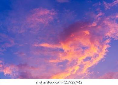 scenic view of beautiful blue sky with clouds that reflect on sun light from sunset in the evening time, magic hours, landscape and background concept.