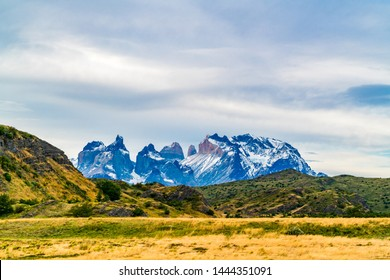 Scenic view of beautiful Cuernos del Paine mountains in Torres del Paine National Park in Chile