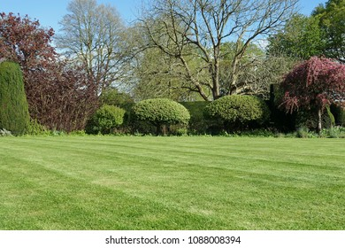 Scenic View of a Beautiful English Style Garden with a Large Open Green Grass Lawn